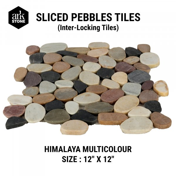 "Sliced Pebble Tiles - Interlocking - Himalaya Multicolour Size - 12 "" x 12"""