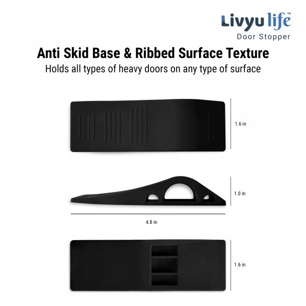 Door Stops- Made of rubber-Unique Slope design-Flexible & Strong-Black -3 Pcs pack.