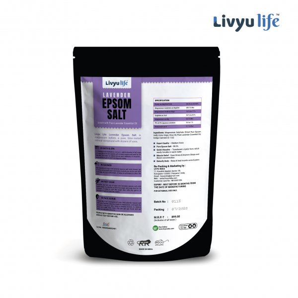 LIVYU LIFE Lavender Epsom Salt - Infused with Pure Lavender Oil - Promote Sleep & Relaxation, Stress Relief, Used in Aromatherapy
