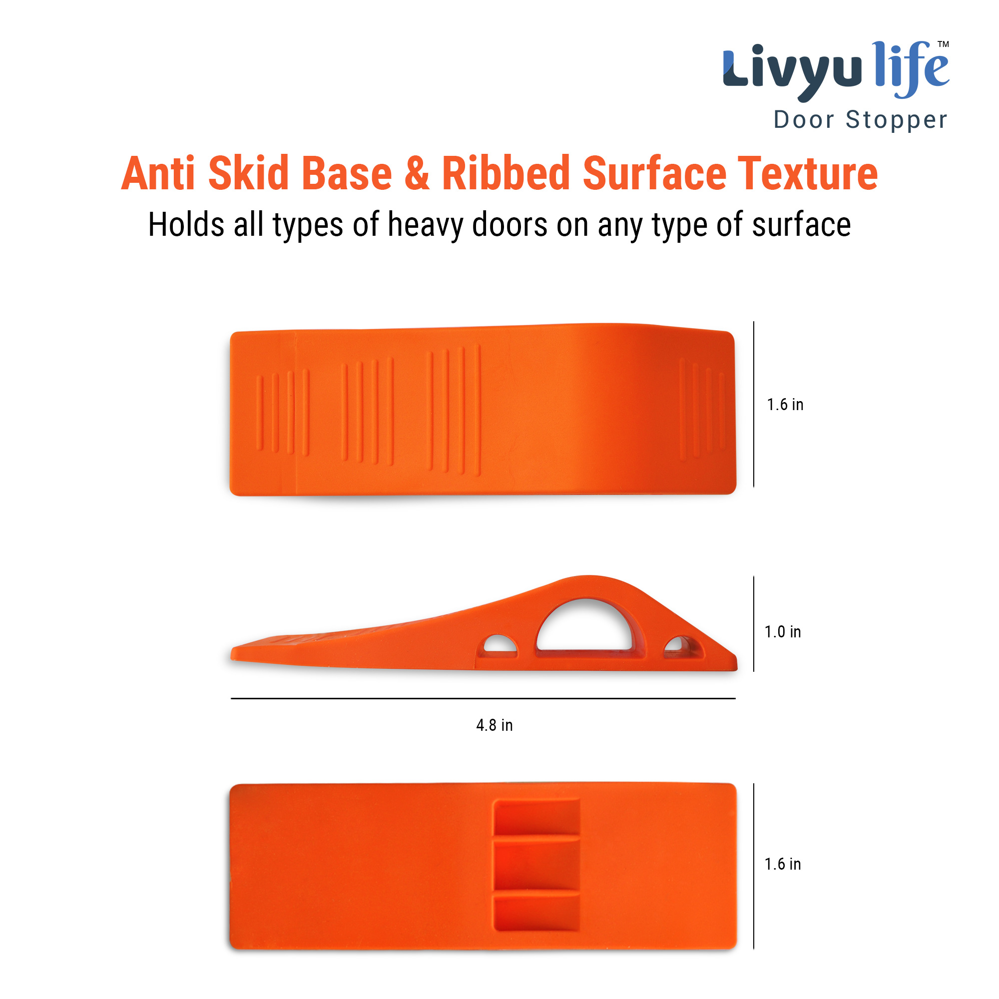Door Stops- Made of rubber-Unique Slope design-Flexible & Strong-Orange -3 Pcs pack.