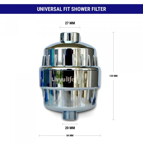 LIVYU LIFE - Multi Stage - Universal High Performance Shower Filter with Revitalizing Mineral Balls - Reduces Hair Falls , Dandruff, Eczema, Dry Skin & Improves skin, hair, nails-Chrome ( LV-101)
