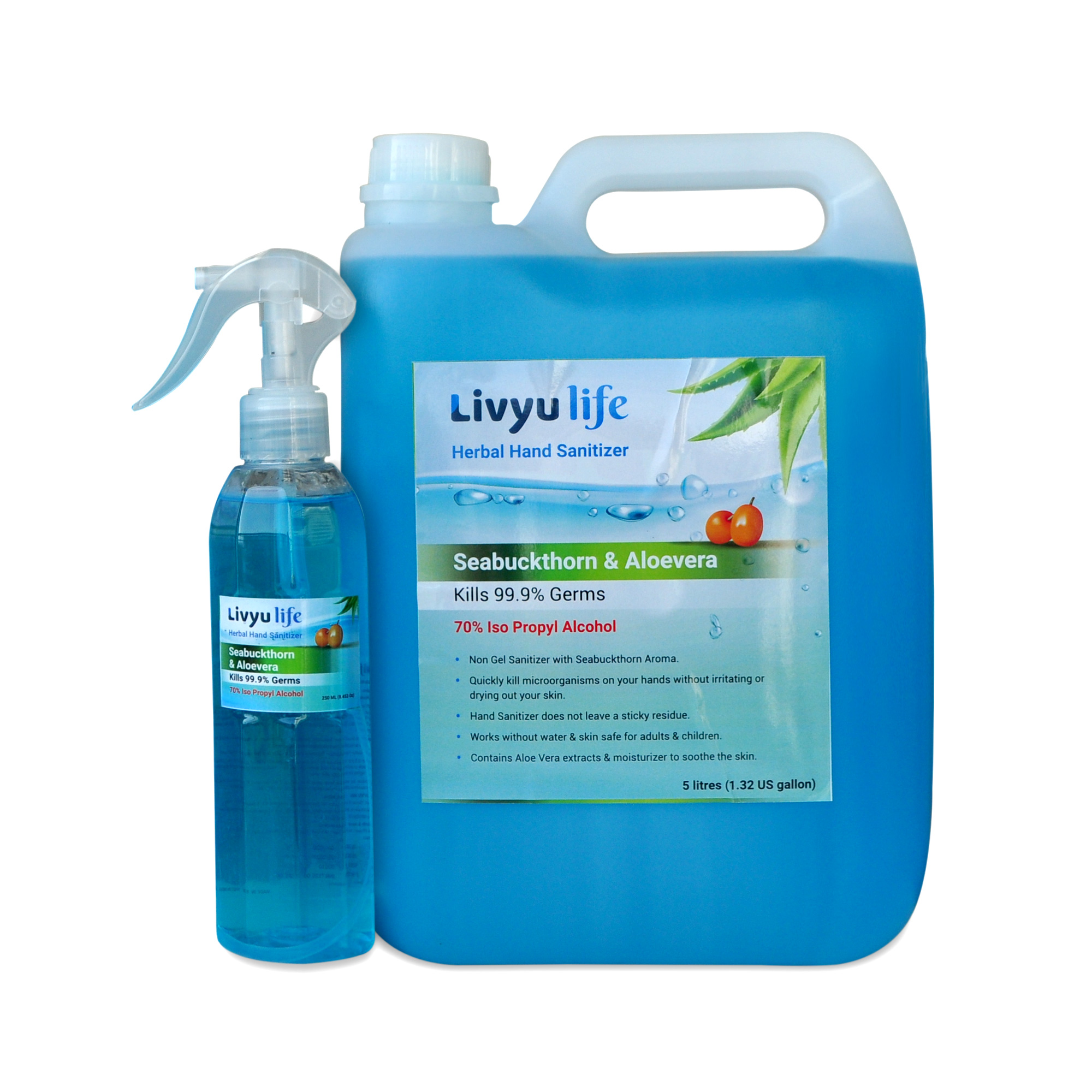 Herbal Alcohol Based Hand Sanitizer - 5 litre Jerry can-Aroma Seabuckthorn (1 can  pack with 1 Free Sprayer sanitizer bottle of 250ml)