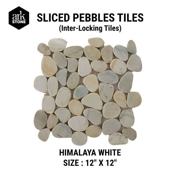 "Sliced Pebble Tiles - Interlocking-  Himalaya White Size : 12 "" x 12"""