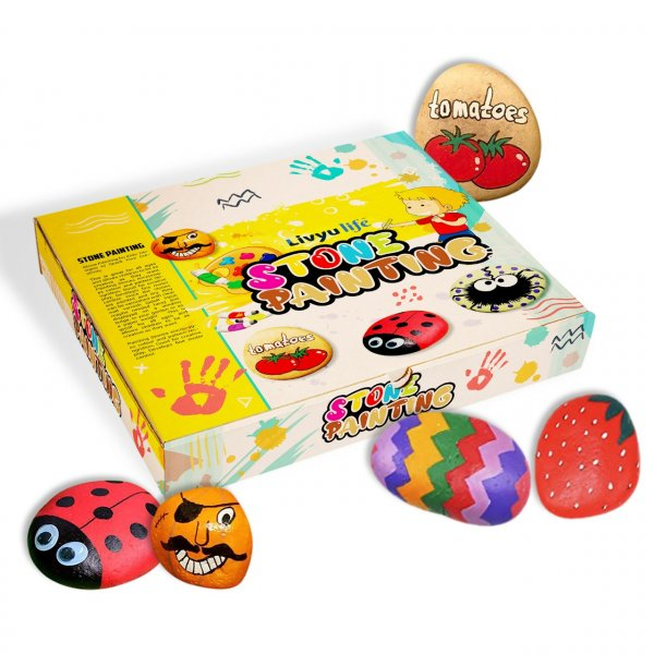 LIVYU LIFE Rock Art Kit | DIY Painting Kit | Indoor Art & Craft Kit with Paints,Brushes,Googly Eyes | Creative Birthday Gift for Boys & Girls Age 4 Years & Above (Pack of 1)