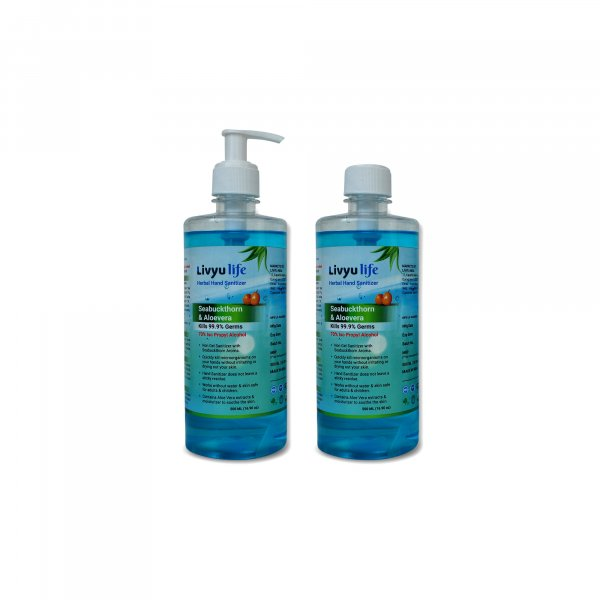 Herbal Alcohol Based Hand Sanitizer contain Green Tea & Aloe Vera Extracts with Seabuckthorn Aroma- 500ml  (2 Pcs pack)