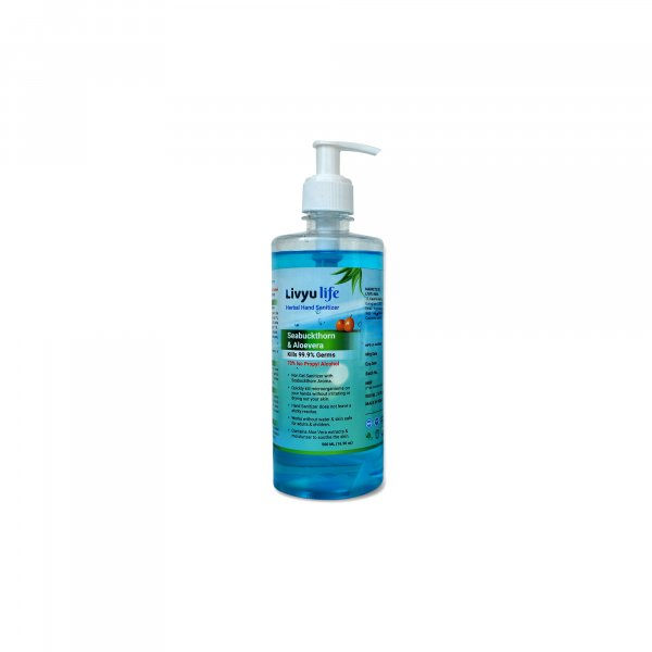 Herbal Alcohol Based Hand Sanitizer contain Green Tea & Aloe Vera Extracts with Seabuckthorn Aroma- 500ml  (1 Pcs pack)
