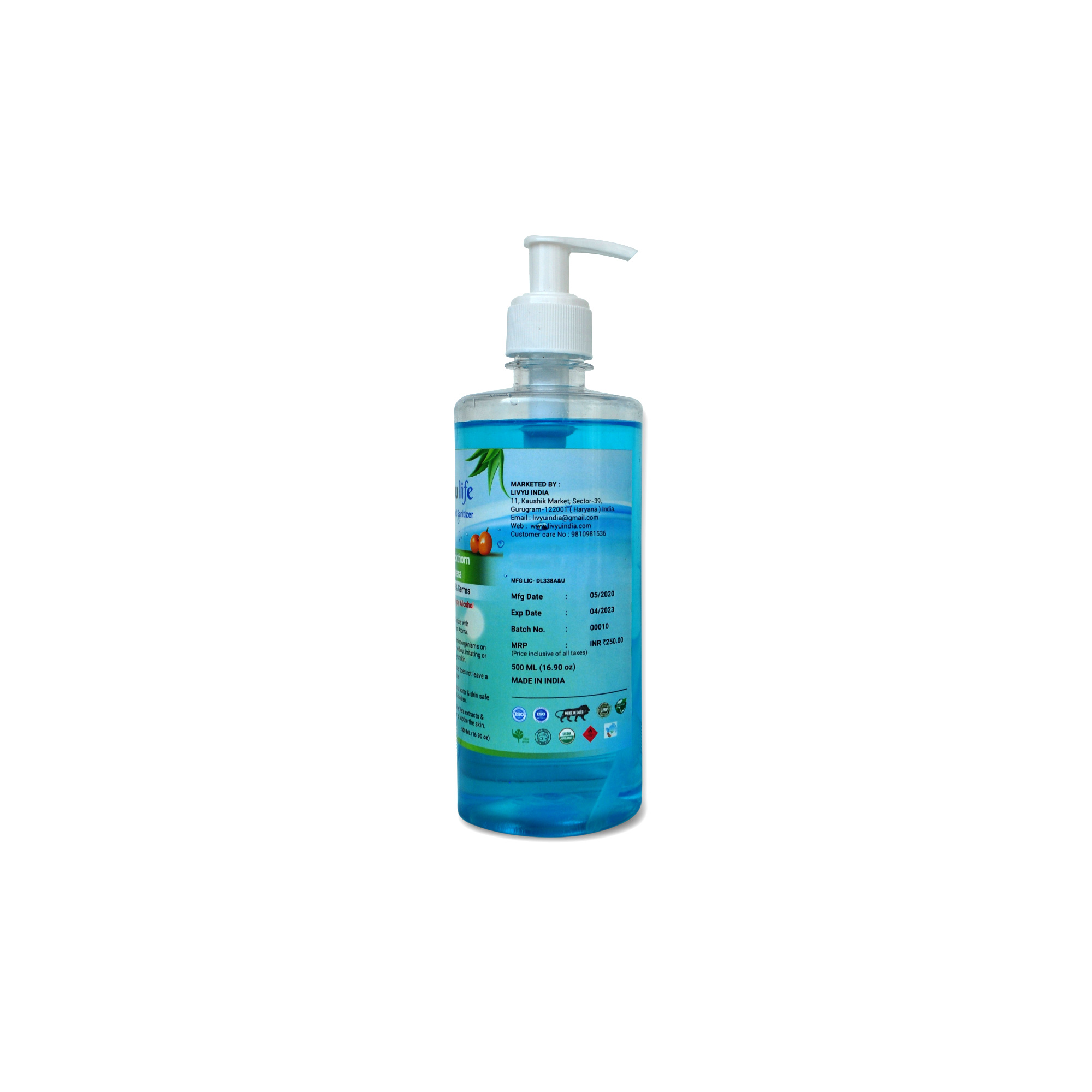 Herbal Alcohol Based Hand Sanitizer contain Green Tea & Aloe Vera Extracts with Seabuckthorn Aroma- 500ml  (6 Pcs pack)