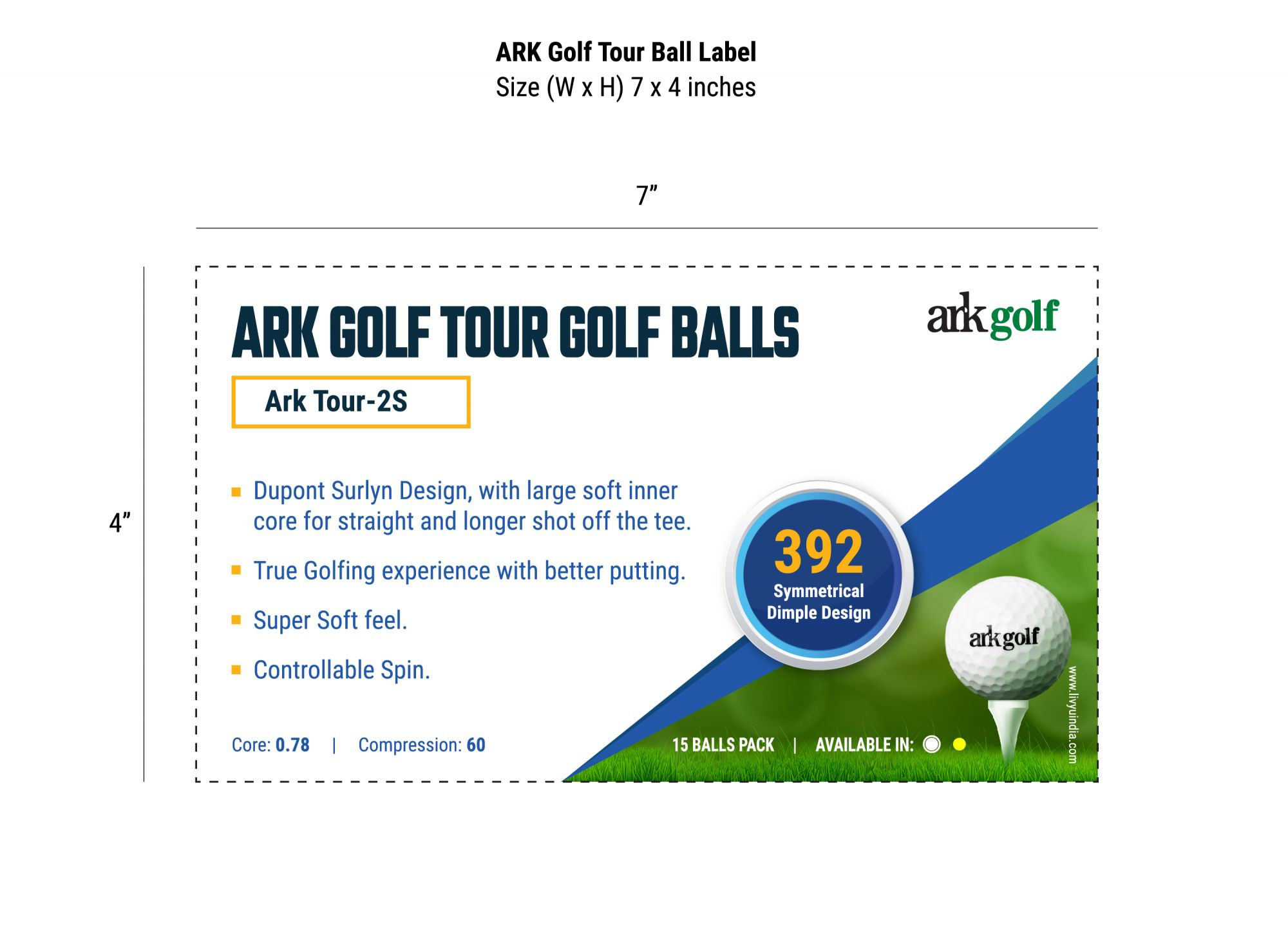 Ark Golf Tour Golf Balls-2 Pcs Dupont Surlyn Design-Super Soft- True Golfing Experience ( Pack of 15 balls )